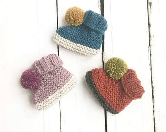 Knitted Pompom Booties