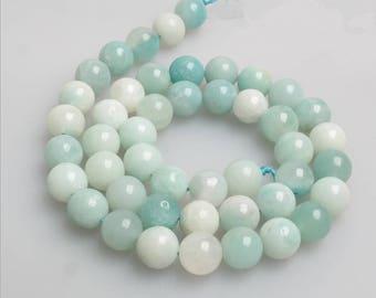 Amazonite round DIY loose gemstone beads strand 16'' 6mm 8mm 10mm