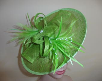 Lime Green Wedding Hat,Lime Green Ascot Hat,Green Wedding Hat,Ascot Hat Green,Wedding Hats Green,Green Race Day Hat,Green Wedding Hat