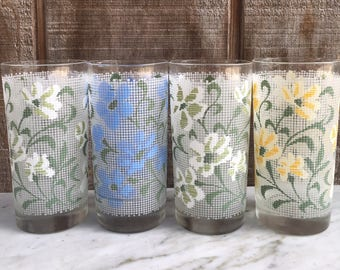 Libbey Needlepoint Water Glasses // Set of 4 // 1960's