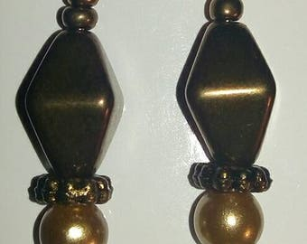 Handmade Gold and copper drop earrings