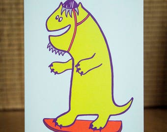 Dinosaur Greetings Card - Dinosaur Card, Monster Card, Dinosaur, Monster, Skateboard, Skateboarding, Birthday Card, Kid's Card, FREE P&P!