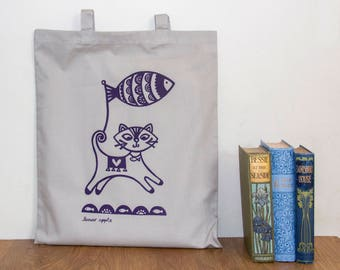 Cat Tote Bag - Hand Screen Printed, Cat Bag, Kitten Print, Cat Screen Print, Tote Bag, Grey, Shopping Bag, 100% Cotton, Turquoise