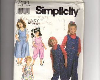 Simplicity 7184 - Top sewing pattern: girls jumpsuit, jumper, sundress in two-lengths and top, vintage, uncut, ff, size 7 8 9 10 11 12 13 14
