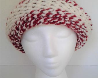 Hand Knitted Red & Cream Chunky Wool Hat-Adult Size