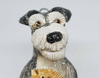 Schnauzer Grrrmaid - ceramic sculpture / hanging ornament. (Mermaid, Merdog, Dogfish.)