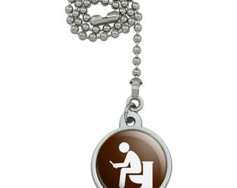 Man Pooping on Toilet Funny Ceiling Fan and Light Pull Chain