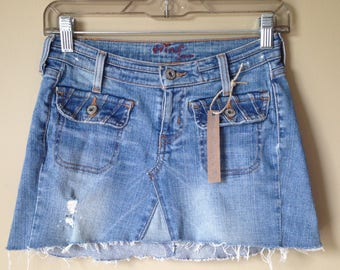 Upcycled Denim - Jean Mini Skirt - Size 0