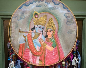 Embroidery Hoop Art Indian Handpainted Krishna Dreamcatcher Upcycled
