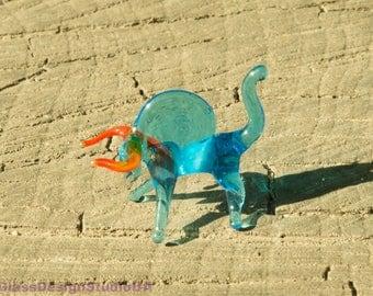 Glass figurine Bull Glass Miniature Glass Animals Bull Glass figurines Art Blown Glass Lampworking murano glass figures Glass sculpture