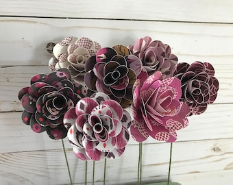 Paper Flower Bouquet, Flower Stems, Paper Flowers, Purple Flowers, Flower Bouquet, Flower Centerpiece, Flower Arrangement, Photo Prop