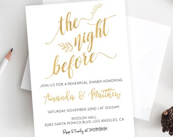 Gold Foil Wedding Invitation - Gold Foil Print - Wedding Invitation - Modern Wedding - Editable Wedding  - Downloadable wedding #WDHSN8112