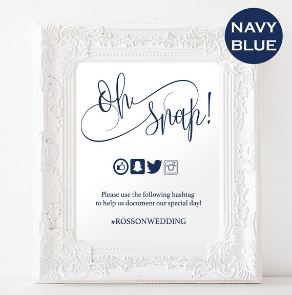 Oh snap wedding sign navy blue modern