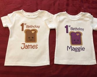 Twins Peanut butter and Jelly birthday t-shirts  PBJ best friends machine embroidery
