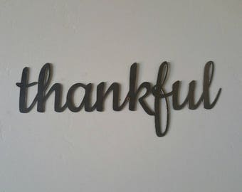 Thankful Metal Sign, Thankful Sign, Thankful Metal Word, Thankful Metal Art