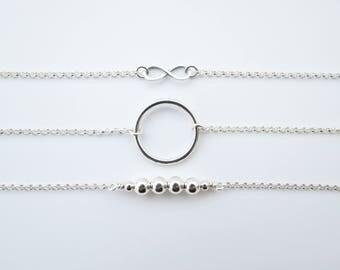 Karma Bracelet, Circle Bracelet, Eternity Bracelet, Boho Bracelet, Love Bracelet, Layering Bracelet, Silver Bracelet, Gift for Wife, Classic