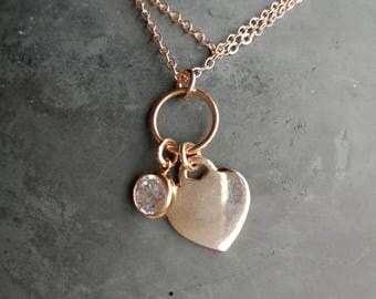 Chain Rosegold filled with heart and Zirkonanhänger/45 cm/gift for you/single piece/Valentine's Day/eye-catcher/combinable/handmade