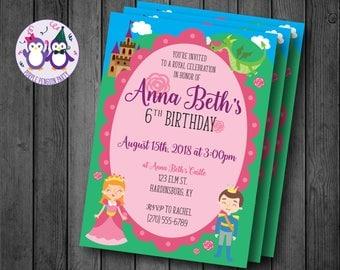 Princess Birthday Party Invitation, Planets, Spaceships, Stars
