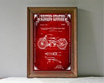 Harley Motorcycle Patent – Patent Print, Wall Decor, Motorcycle Decor, Harley Davidson Art
