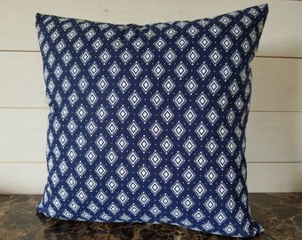 Blue and White Diamond Decorative Pillow Cover, Bedroom Decor, Accent Pillow, Sofa Pillows, Toss Pillow, Cushion cover. SIZE 18x18
