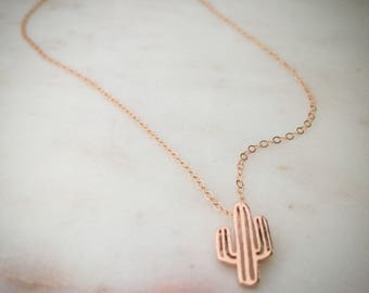 Cactus Necklace, Vermeil + Rose Gold Filled Chain