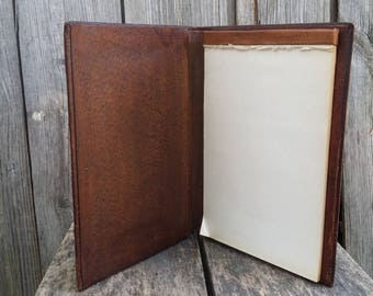 Leather Notebook, Leather Portfolio, Genuine Leather Folder, Vintage Paper  Organizer, Old Bookcase