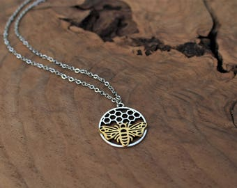 Bee necklace, honey bee jewelry, honeycomb, gold and silver, beekeeper gift, honey bee necklace, bee necklace gold, stocking stuffer