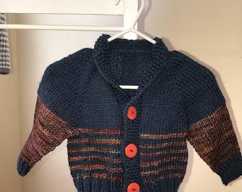 Hand knit baby boy sweater
