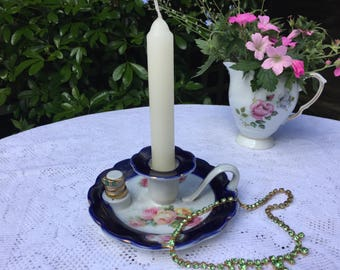 Antique porcelain candlestick holder, chamberstick, blue florals, shabby chic, night candle
