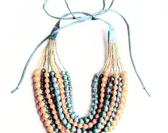Exclusive, one-of-kind, 12 String Statement Sari Necklace - Orange/Blue