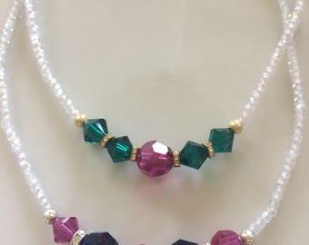 Sparkling white zircon choker necklace.