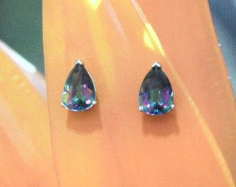 Rainbow Topaz Earring, 14KT White Gold Rainbow Topaz Pear Cut Stud Earring, E5447