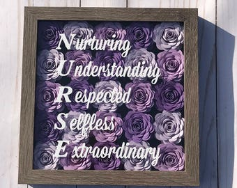 Nurse Appreciation - Registered Nurse - Nursing Student - Nursing Graduation Gift - Nurse Frame - Shadow Box Frame - Paper Flower Wall Decor