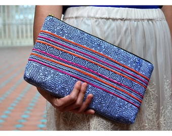 Clutch Bag Clutch Purse Blue Colur Brider Gift in Thai Style By Tribe Décor