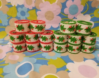 Vintage Christmas Napkin rings-red-green-holly