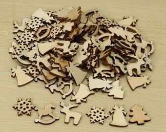 100X Pcs Natural Color Tree Snowflake Wooden Ornament Scrapbooking Embellishments Christmas Home Party Decor Wood Craft 20-22mm