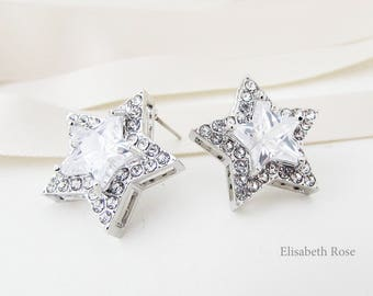 Cubic Zirconia Star Stud Earrings, Small Star Stud Earrings, Star Earrings, Crystal Star Wedding Earrings, Silver Star Earrings