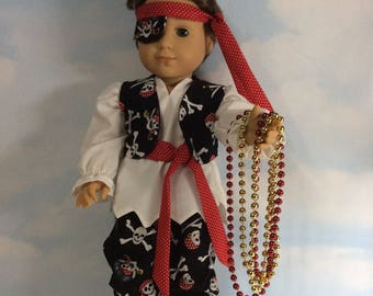 """Pirate outfit for 18"""" Logan or dolls similar to size"""