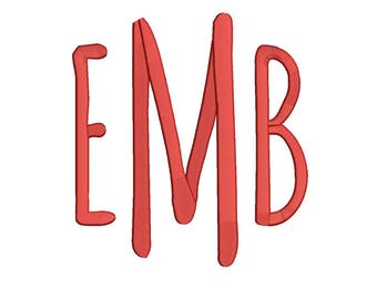 5 Size Amatic Monogram Embroidery Fonts BX  9 Formats Embroidery Pattern Machine BX Embroidery Fonts PES