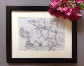 Original Hummingbird and Hibiscus drawing in graphite pencil.