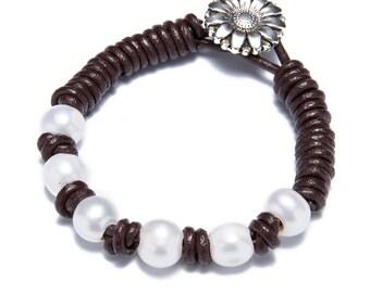 Hand made friendship bracelet - pearl leather woven bracelets - white pearl bracelet - bridesmaid bracelet - flower bracelet - girls gift