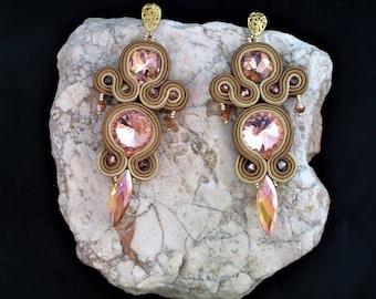 soutache earrings brown, soutache, soutache jewelry, handmade earrings, soutache jewels, long earrings, soutache embroidery