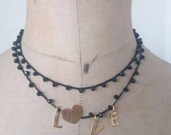 Two-round choker with crystals