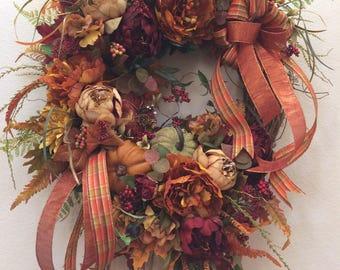 ON SALE!  Luxury Fall Wreath, Fall Harvest wreath, Elegant Fall Wreath, Fall Designer Wreath, Thanksgiving Wreath, Lush Fall Wreath