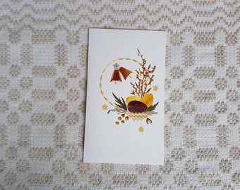 Vintage  new postcard, vintage art postcard, collectible postcard,  vintage Easter greeting hadmade whit desiccated flowers and straws