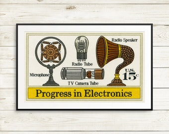 Wall art: radio history, television history, electronics, radio tubes, tv tubes, vintage microphone, vintage electronics, tech history art