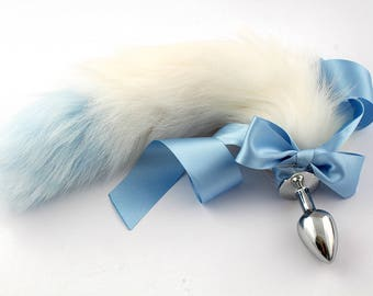 Blue tip white petplay tail butt plug. Beautiful faux fur hand dyed to create this  custom kitten play tail - MATURE bdsm tail