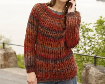 Alpaca sweater hand knit in various colors from cuddly yarn