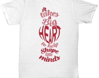 Big Heart Teacher Mom Dad Tee Shirt Valentine's T-Shirt Gift Teach Learn Best Teacher Gift Home School Parent