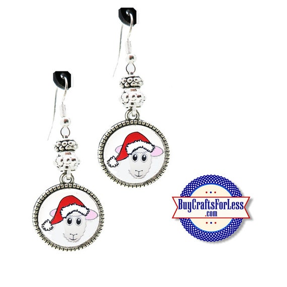 CHRiSTMAS SHEEP EARRiNGS, Glass Cabochon, Sparkle Beads, FREE Gift BoX!!  +FREE SHiPPiNG & Discounts*